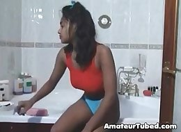 Beautiful indian girl bathing